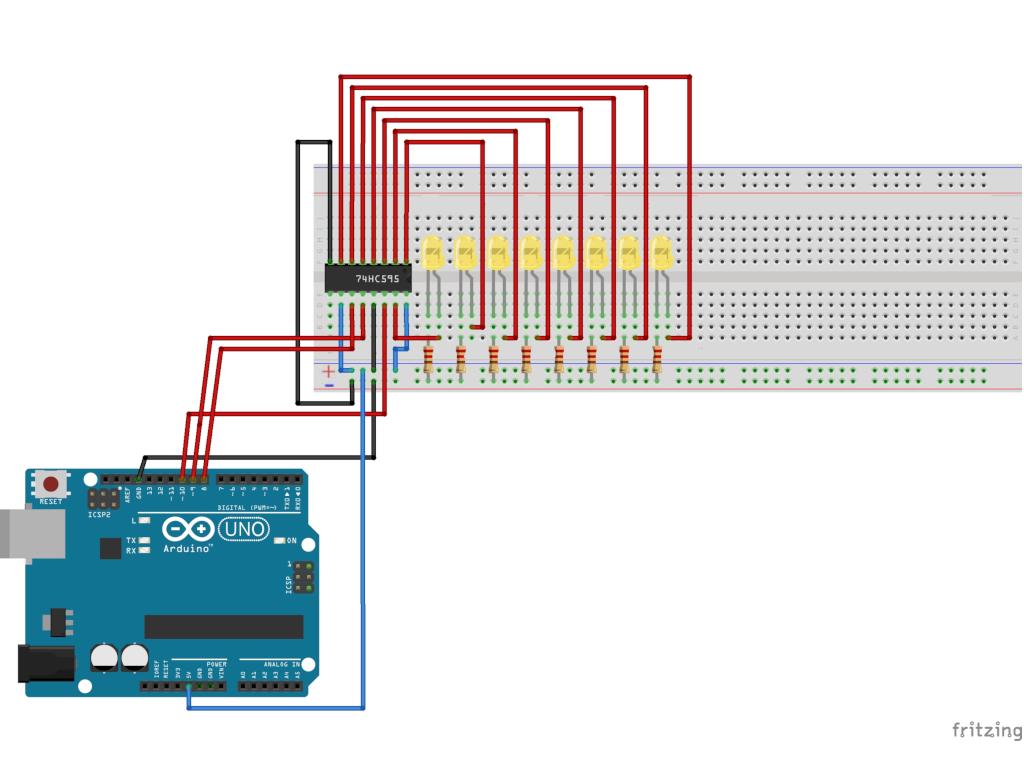 LEDs mit dem Schieberegister 74HC595 steuern