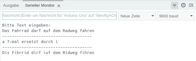 String-Funktion - Anzeige im Seriellen Monitor