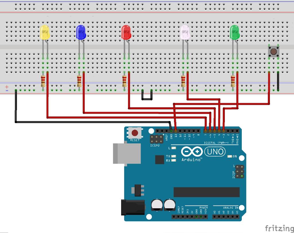 LEDs mit einem Taster steuern