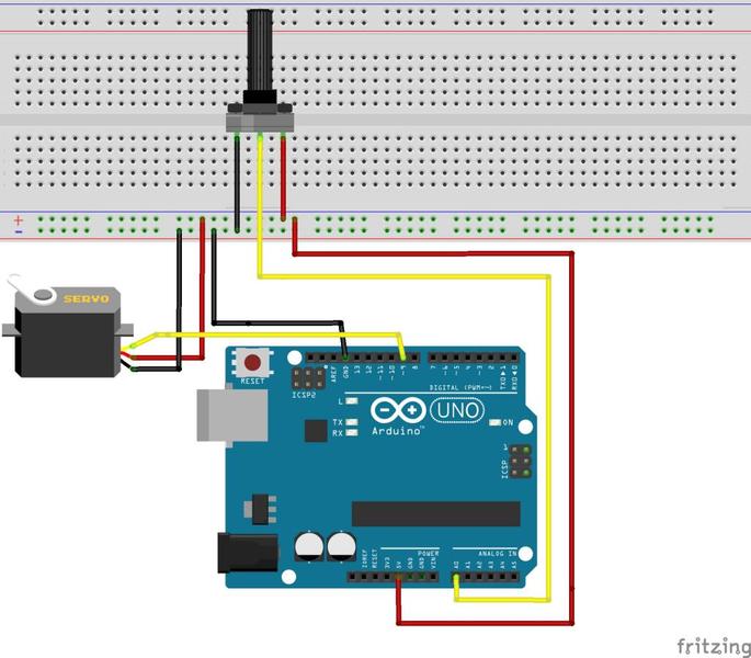 Servomotor mit einem Potentiometer steuern