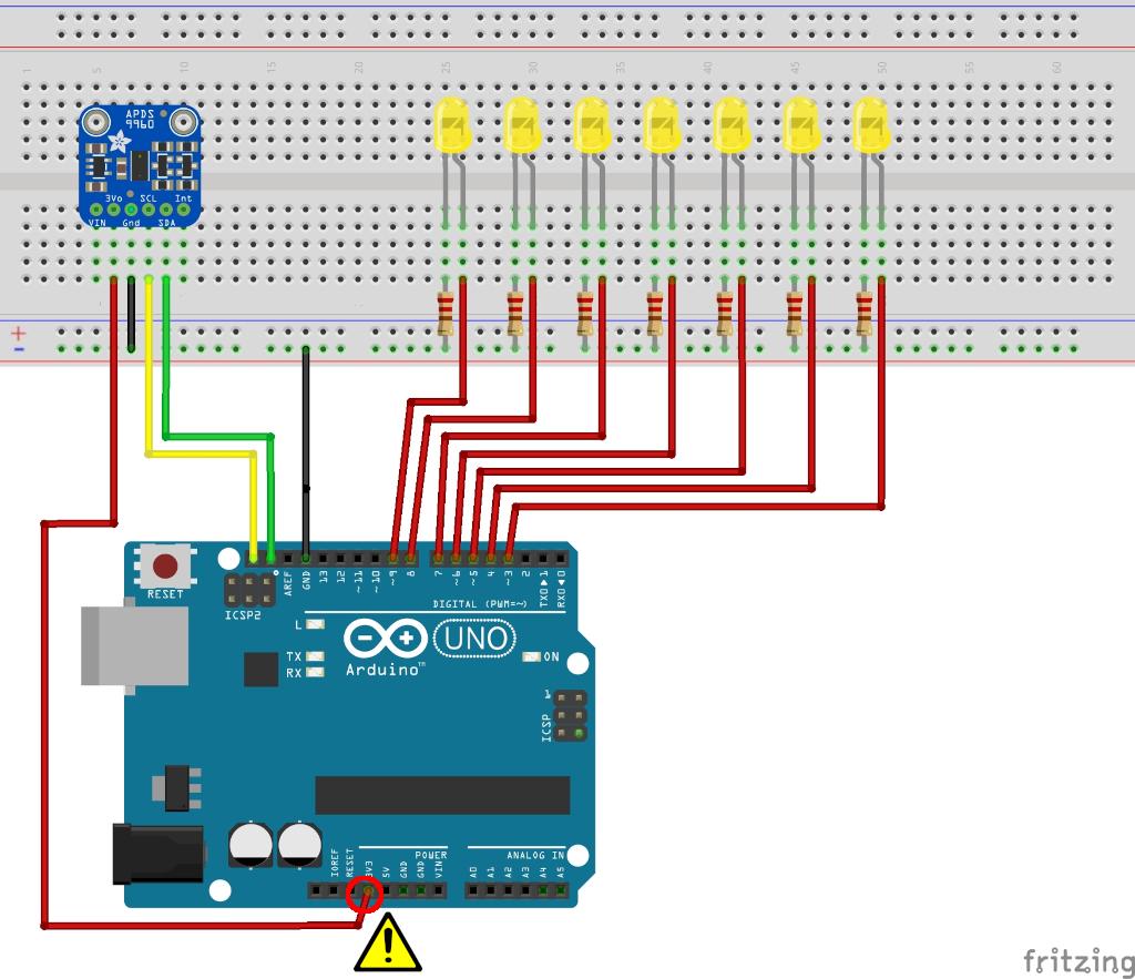 Lauflicht mit einem Gesten-Sensor