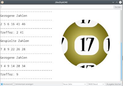 Lottozahlen - Anzeige im Seriellen Monitor